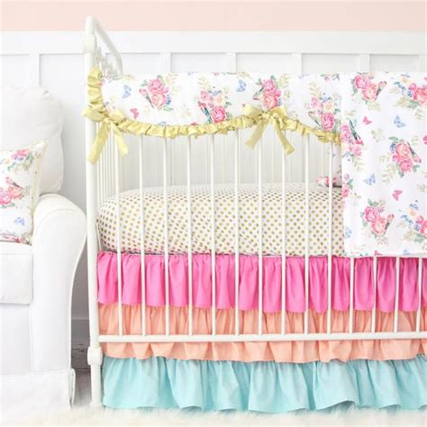 Pastel Crib Bedding Sets S Bright Boho Floral Bumperless Crib Bedding Caden