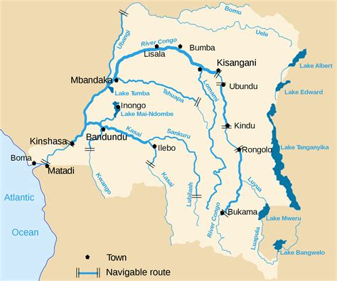 africa map lakes congo democratic republic detailed map of river and lakes
