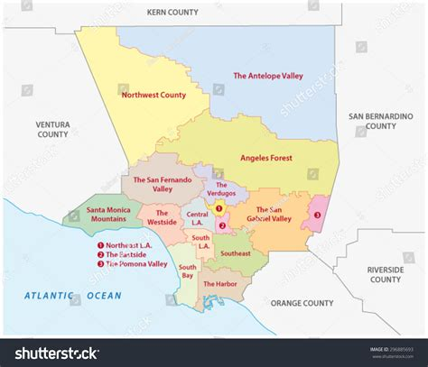 la county map los angeles county regions map stock vector 296885693