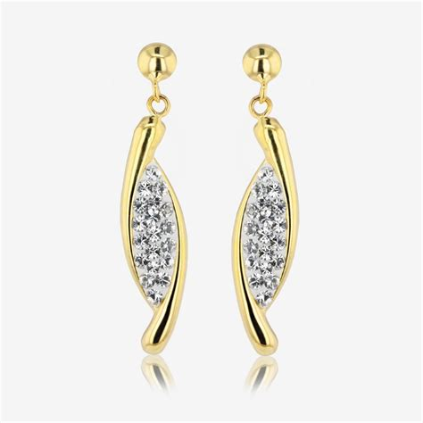 Swarovski Earrings channelle 9ct gold silver bonded earrings made with