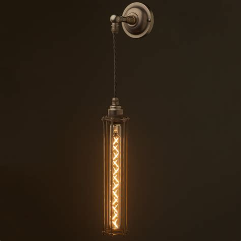 long pendant light long bulb cage wall pendant l