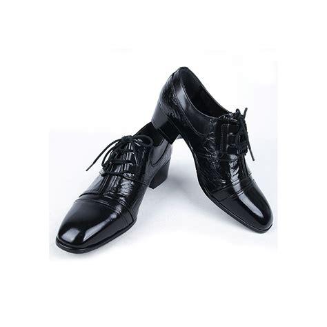 mens real leather tip wrinkle black lace up dress