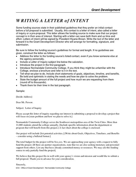 Letter Of Intent Exle Grant Sle Letter Of Interest For Grant Application