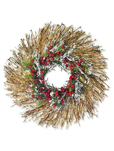 pre decorated frosted wreath with berries twigs needle