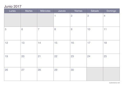 Calendario De Junio Calendario Junio 2017 Para Imprimir Icalendario Net