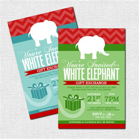 white elephant gift exchange invitations christmas by