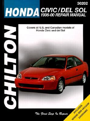 honda civic and del sol 1996 00 repair manual book by kevin m g maher 1 available editions
