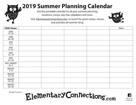 summer planning calendar