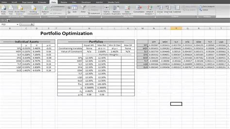 commercial model portfolio exle portfolio optimization in excel mp4 youtube