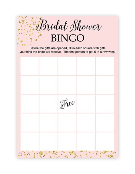 Blank Bingo Card Template For Bridal Shower by Free Printable Bridal Shower Bingo