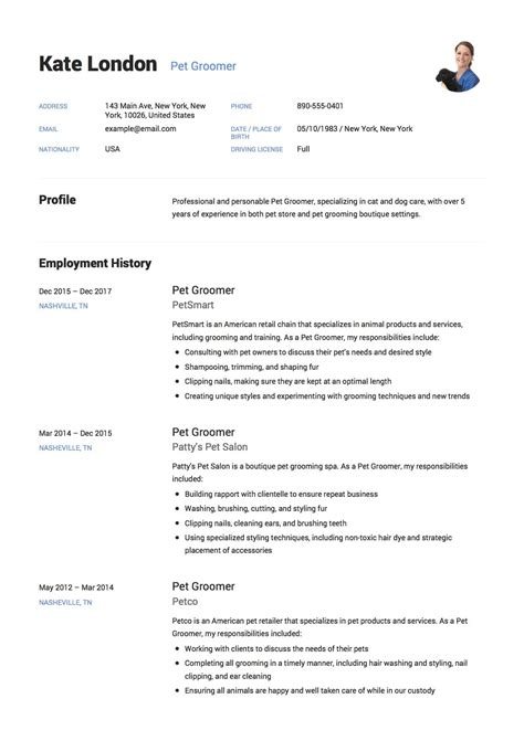 exle resume format 2018 12 pet groomer resume sle s 2018 free downloads