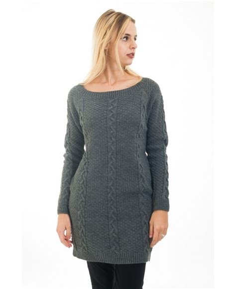 cable knit tunic sweater sweater tunic cable knit 4473 grey grossiste pret a