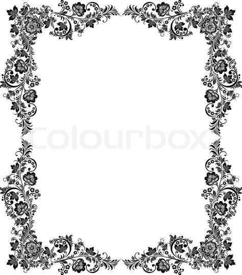 wallpaper black and white frames vector black and white vintage floral frame stock vector