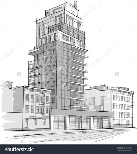 building structure stock vectors vector clip perspective drawing of a concept