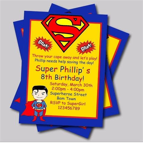 Superman Baby Shower Invitations by 20 Pcs Lot Personalized Superman Birthday Invitations