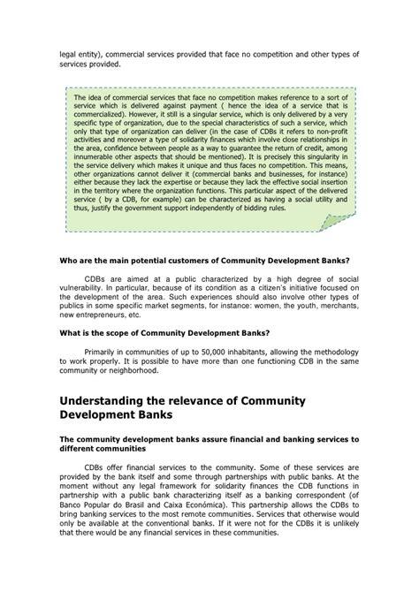 community development bank community development banks instituto palmas methodogy