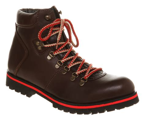 office mens boots mens office alpine hiker boot brown leather boots ebay