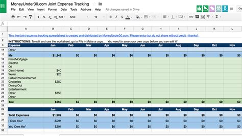 A Simple Spreadsheet For Tracking Shared Expenses