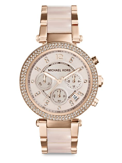 michael kors watch lyst michael kors parker pave rose goldtone stainless