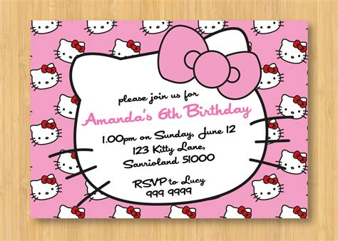 hello kitty printable birthday invitations template