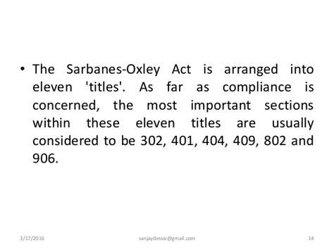 Section 302 Of The Sarbanes Oxley Act by Audit In Computerised Informaton System Environment And