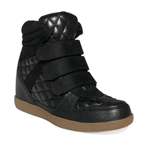 wedge sneakers black report leif quilted wedge sneakers in black lyst