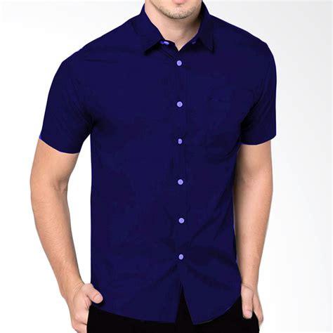 Baju Atasan Kemeja Slim Fit Pria Myt jual vm kemeja pendek pria polos slim fit navy blue
