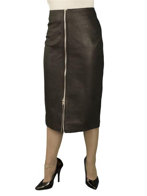 black midi leather skirt with front zip below knee