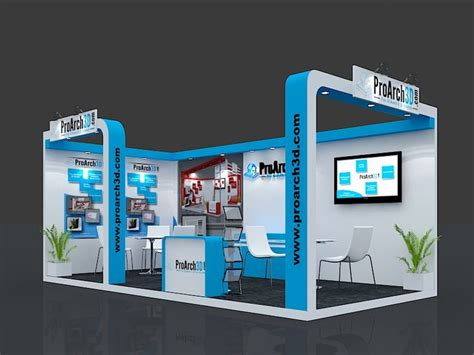 booth design free exhibition stall 3d model 6 mtr x 3 mtr 2 side open