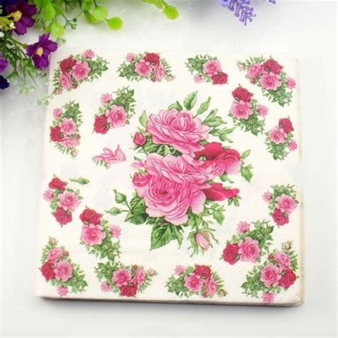 decoupage wholesale 33cm 33cm 20pcs bag paper napkin flower festive