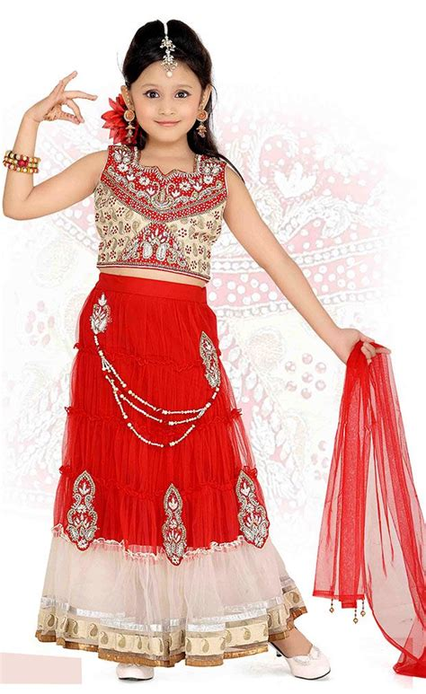 kids girls exclusive designs gowns lehnga suits lacha red white color embroidered lehenga choli made of net