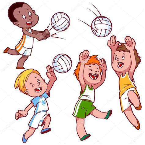 imagenes de niños jugando volibol dibujos animados de ni 241 os jugando voleibol vector clip