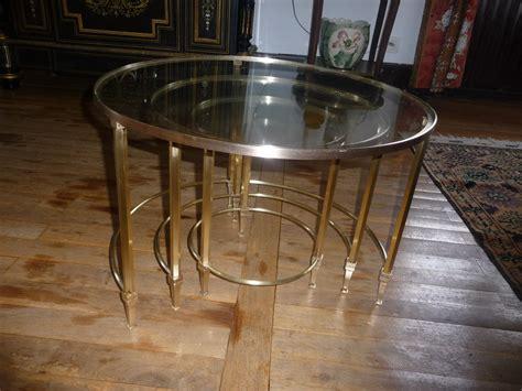 Le Table by Tables Gigogne Laiton Avec Plateaux Verre Maison Jansen