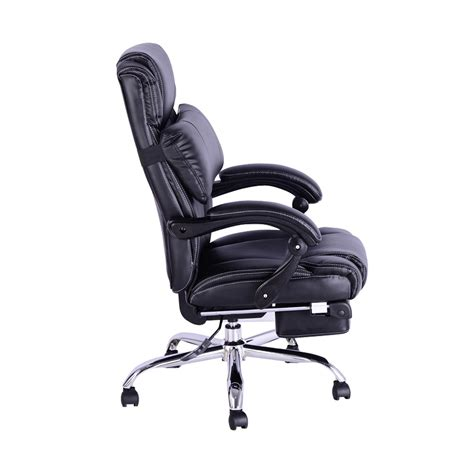 executive reclining office chair footrest black aosomca