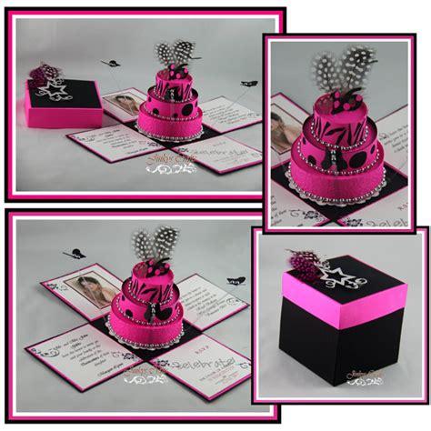 explosion box birthday cake tutorial hot pink black birthday exploding box invitations and