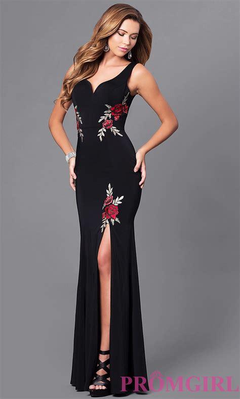 Dress Roses Black v neck black prom dress with embroidery promgirl