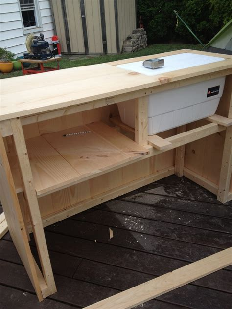 building bar top diy outdoor bar with built in cooler