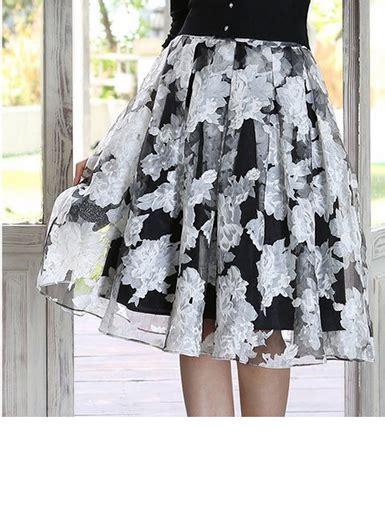 White Flower Midi Dress Size S M L womens midi skirt black white flowers chiffon