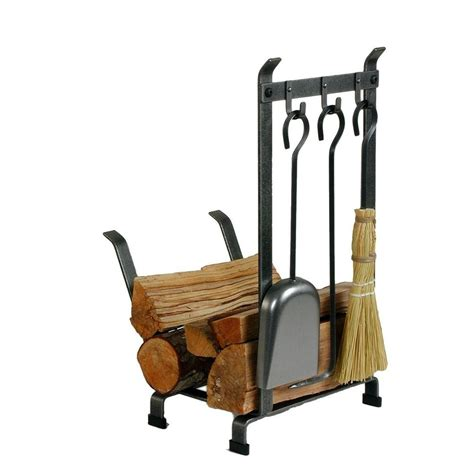 wood rack for fireplace enclume 1 25 ft country home log rack fireplace tools with hammered steel finish lr11t hs the