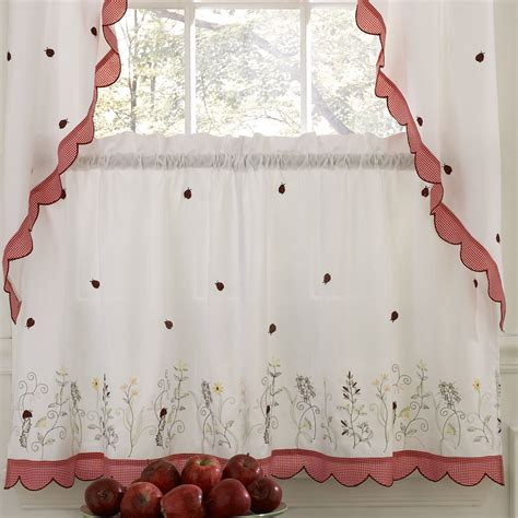 ladybug kitchen curtains sweet home collection embroidered ladybug meadow kitchen