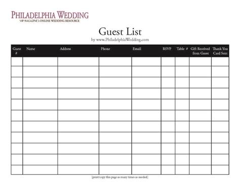 template for wedding guest list wedding guest list template wedding