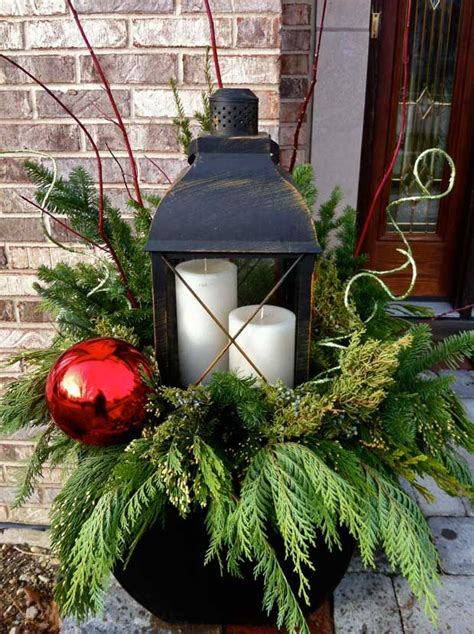 christmas decorating huge stone urns in front of entrance large lantern with evergreen wonderful winter urn projects to try planters