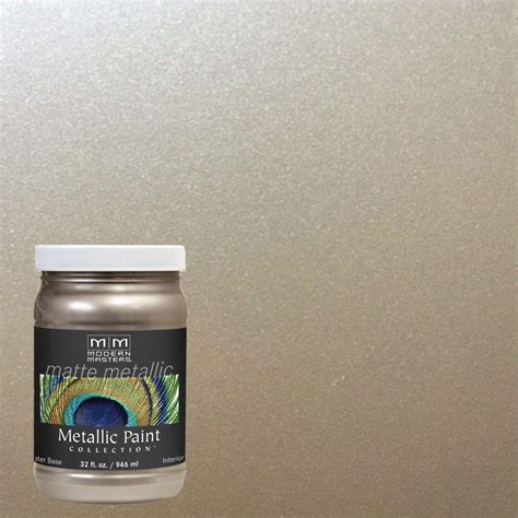 Metallic Gold Interior Paint by Modern Masters 1 Qt Warm Silver Matte Metallic Interior Paint Mm22132 The Home Depot
