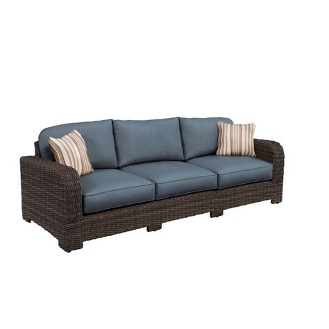 patio sofa cushions brown northshore patio sofa with denim cushions and terrace throw pillows custom