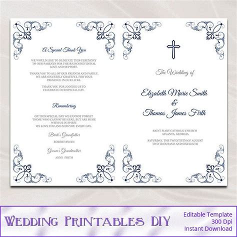 Catholic Wedding Program Template Diy Navy Blue Church Free Template For Program Booklet