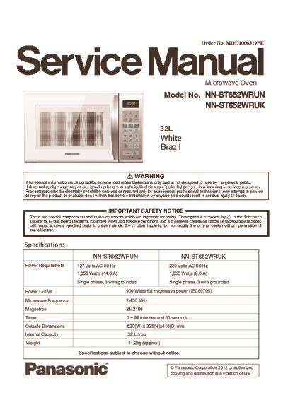 panasonic nn stw service manual repair schematics
