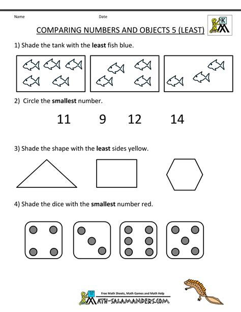 Math Worksheets For Preschoolers by Kindergarten Math Worksheets Comparing Numbers And Size