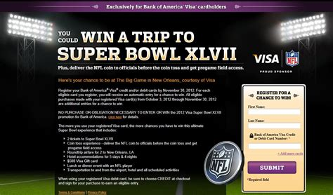 Bank Sweepstakes - bank of america visa super bowl xlvii sweepstakes