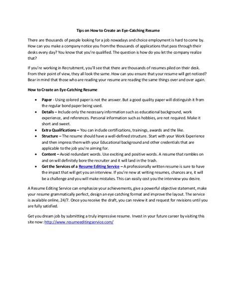 how to write an eye catching resume tips on how to create an eye catching resume