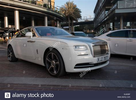 rolls royce white wraith white chrome rolls royce wraith coupe motor car stock